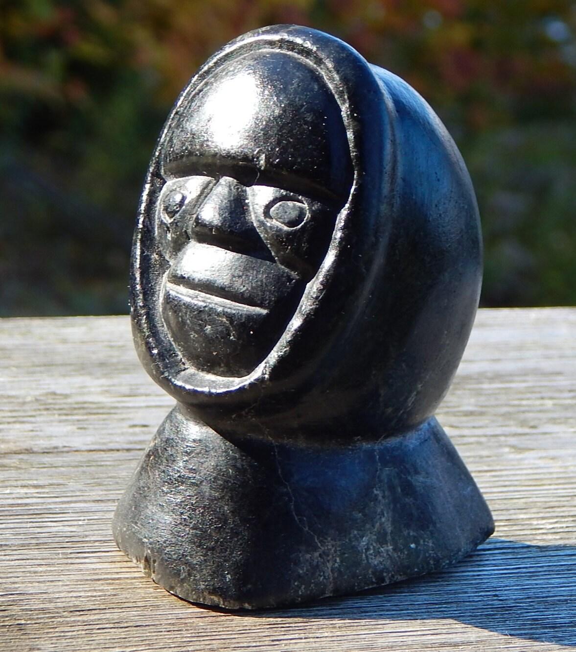 Inuit Eskimo Soapstone Carving Of Woman: Inuit Eskimo Soapstone Art Carving: HEAD About 4 By