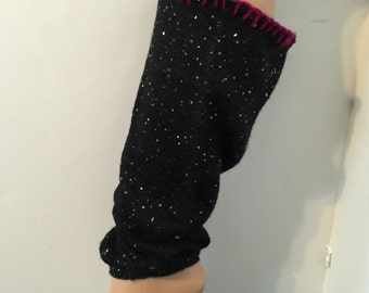 Womens handmade upcycled black silver sequin boot cuffs socks leggings leg warmers crocheted trim great gift