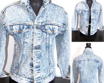 Vintage Jacket 80s Vintage Denim Jacket Acid Wash Denim 1980s Jean Jacket Women Men S Small