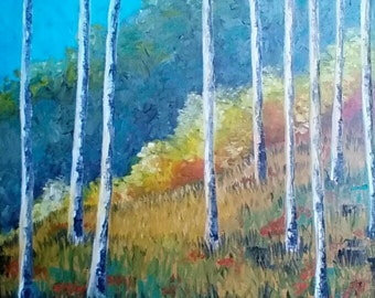 Original Impressionist Oil Painting, Fall Landscape, Birch Trees, Large, Modern, Colorful