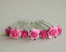 Hot Pink Flower Hair Pins - Set of 7 - Made of muberry paper flowers and U pins - Great for ballerina bun decoration