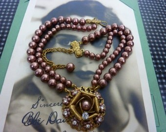 Miriam Haskell style vintage multi strand pearl necklace