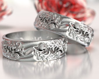 thistle wedding band set 925 sterling silver scottish ring unique rings for him - Scottish Wedding Rings