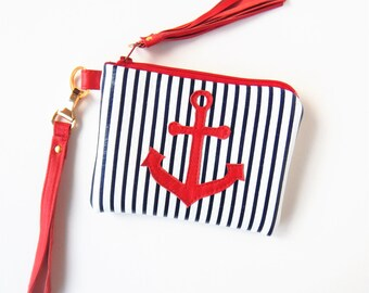 Leather wristlet, red, white, and blue leather bag.  Nautical leather wristlet.