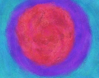 Painting / Art Print: Red Orb, 8x8 Digital Download