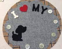 I Love My Dog (or Cat) Mug Rug or Votive Candle Mat