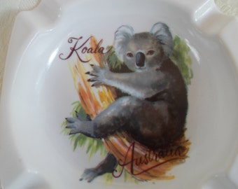 Vintage Small Plastic Koala Bear Ashtray