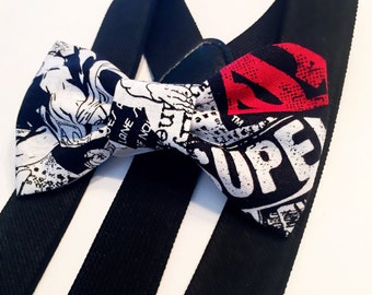 superman bow tie & suspender set,suspenders,baby suspenders,boy suspender set,wedding suspender set,bow tie,adult child suspender,photo prop