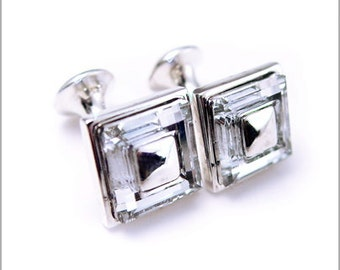 Square rhodium Plated Cufflinks with Clear Swarowki Crystals CS011