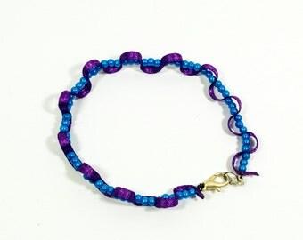 Violet Ribbon and Blue Beads Bracelet - Fancy Fairy Mystery