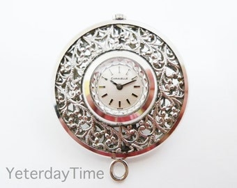 Caravelle Bulova Ladies Pendant Watch 1978 Swiss 7 Jewel Manual Movement Complete With Chain