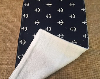 Navy Anchor Burp Cloth