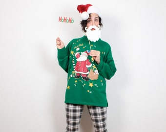 Vintage Green Red Santa Claus Ugly Christmas Sweater Cartoon Tacky Christmas Sweater Holiday Jingle Bells Jumper Tshirt L Extra Large XL