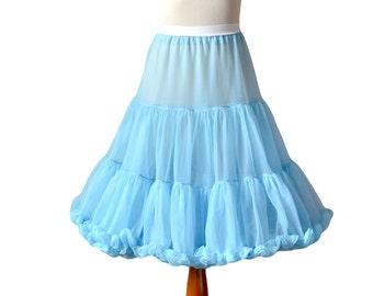 Blue Crinoline, Blue Petticoat, Vintage Petticoat, Womens Petticoat, Full Pettitocat, Fluffy Petticoat, Lace, 1950s 50s 1960s Medium