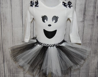 Cute Ghost halloween tutu skirt and shirt long sleeve bodysuit newborn to 5T halloween costume ghost tutu outfit