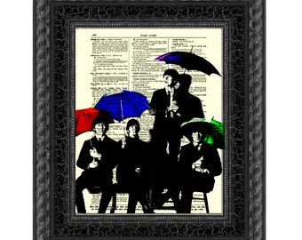 Beatles Silhouettes & Umbrellas Antique Dictionary Art Print, Buy 2 Get 1 Free, Home Decor, Wall Decor, Dictionary Page Art, Mixed Media Art