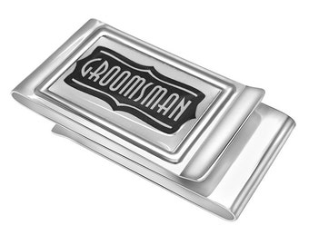 Quality Double Sided Groomsman Money clip - Free Engraving