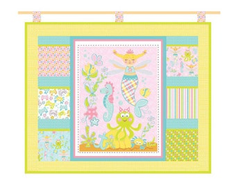 """50 PERCENT OFF SALE Marcus Fabrics Magical Mermaid 44""""x37"""" Pocketed Wall Hanging Kit by Susan Cousineau of Lollipop Rainbow"""
