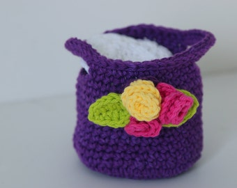 Crochet Purple Basket with Face Scrubbies Makeup Remover Pads Wash Clothes Facial Pads