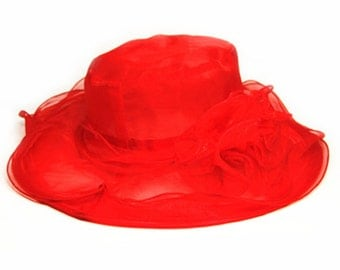 Beautiful Sheer Wide Brim Hat with detachable embellishment- Red