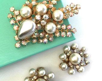 Beau Jewels Faux Pearl Demi, Faux Pearls and Rhinestones, Aurora Borealis Rhinestones, Brooch and Earrings