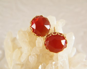 Carnelian earrings, Stud gold earrings, Orange gem stone earrings, Post earrings, Gold flower earrings, Bridesmaid earrings, Gift for her