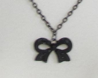 Black Bow, jeweled, large charm, black chain, black stones, 24 inch chain, F, jewelry