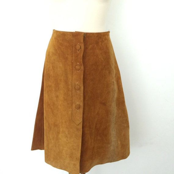 "1970s suede skirt button front skirt A line tan suede real leather knee length UK 10 26"" waist 70s hippy boho vintage winter high waisted"