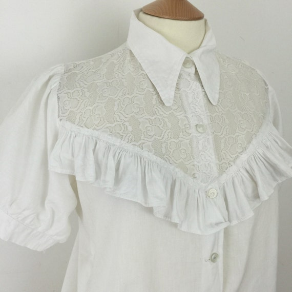 Vintage lace blouse frilly yoke top dagger collar shirt white victoriana blouse UK 14 16 handmade re enactor historical
