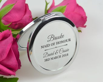 1x Engraved Compact Mirror Wedding Bridesmaid Maid of Honour Gift Mother the Bride