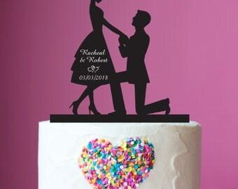 1 x Proposal Silhouette Acrylic Wedding Cake Topper
