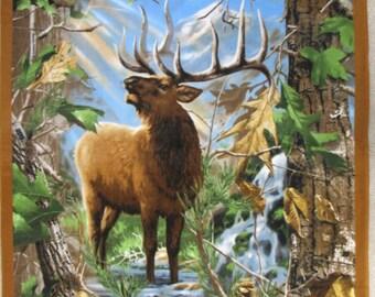 Elk Camo Panel Fleece Throw Blanket