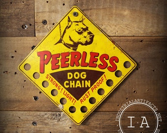 Vintage Peerless Dog Chains Tin Advertising Sign Store Display