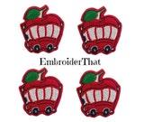 4 UNCUT Apple bus felt applique embellishments (4)