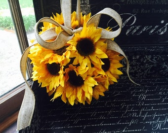 Sunflower Kissing Ball, Sunflower Wedding, Sunflower Pomander, Sunflower Ball, Sunflower Bouquet, Sunflower Bridal, Sunflower Rustic Wedding