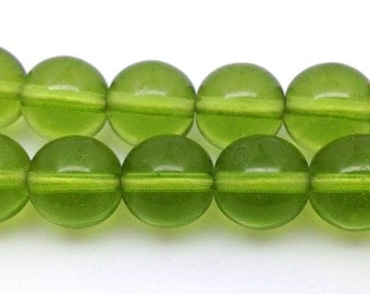 20 Vintage Olive Green Czech Round Glass Beads 10mm