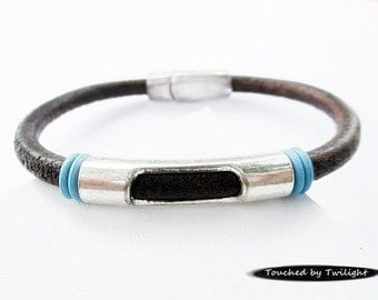 Women's Leather Bracelet - Distressed Brown Leather with Antique Silver Peek-a-Boo Slider and Turquoise Rings, Magnetic Clasp