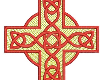 Celtic cross embroidery design,  three sizes, design tested