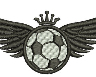 soccer ball and wings with crown Embroidery Design / Football Embroidery Design