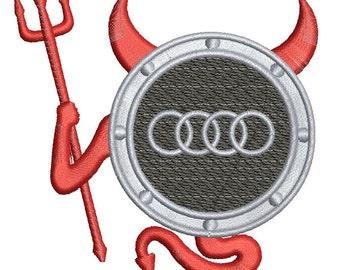 Audi devil logo - Machine Embroidery Design