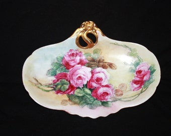 Antique Deliniers Handpainted Porcelain Bowl Marked D and Co. Made in Limoges France