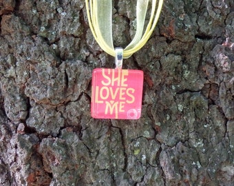Broadway Musical She Loves Me Glass Pendant and Ribbon Necklace