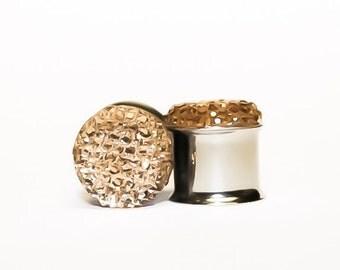 Jewel-Like, Vintage Gold Plugs, gauges   0g, 00g, 7/16, 1/2, 9/16