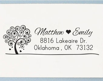 Custom Self Inking Return Address Stamp or Personalized Handle Mounted Address Stamp Tree Love - T30