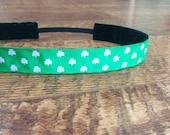 Green shamrocks no slip headband. St. Patrick's, Beer run, green, headband, running, team colors, hair, accessory, girls, women's, Irish