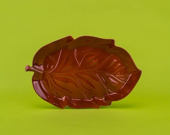 Terracotta Medium Serving Vintage Mid-century Modern 1950s PLATE Leaf English Pottery LS