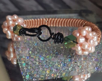 WristCandy ... bracelet .. pearls .. wire wrapped .. copper .. jewelry