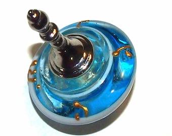 Murano Glass Handmade Dreidel Sevivon Hanukkah Judaica Italy Venice Blue/Aqua