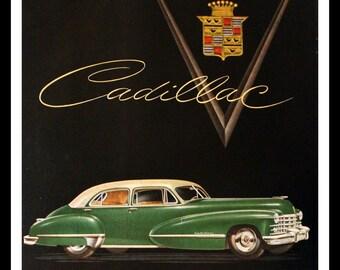1947 Cadillac Ad with Series 62 Sedan - Wall Art - Home Decor - 4 Door - Garage - Restoration - Green - Retro Vintage Car & Auto Advertising