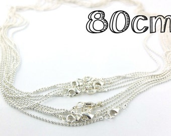 5 x Silver Necklace 80cm ball chain